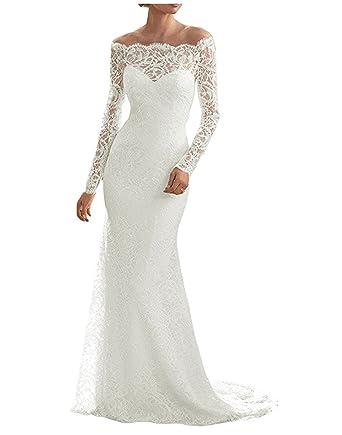 Udresses Long Sleeve Lace Wedding Dresses 2018 Off Shoulder Bridal ...