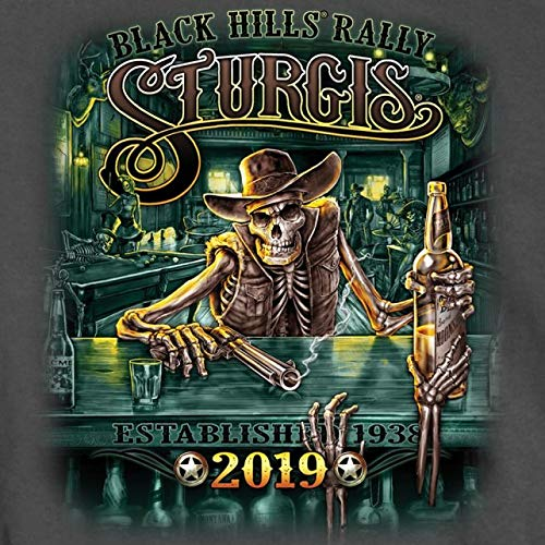 Official 2019 Sturgis Motorcycle Rally Saloon Charcoal T-Shirt (CHARCOAL Large)