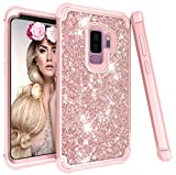 Galaxy S9 Plus Case - Daker 3 Layer Glitter Cute Phone Case Girls - Bling Diamond Rhinestone Bumper Ring Stand Sparkly Luxury Thin Soft Protective Samsung Galaxy S9 Plus Case for Girl Women (Rose Gold)