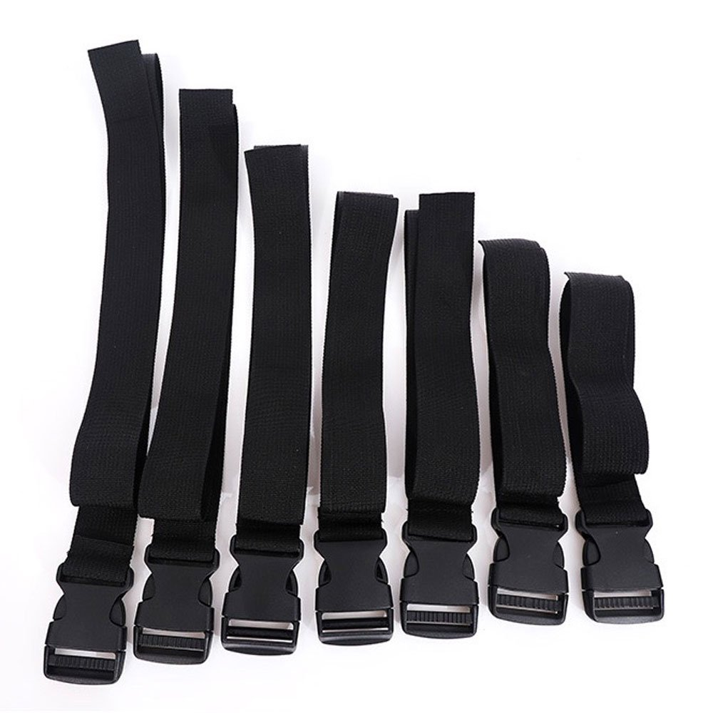 Wolike 7-Pack Buckle Straps with Quick Release Buckle and Length Adjuster Black KK001