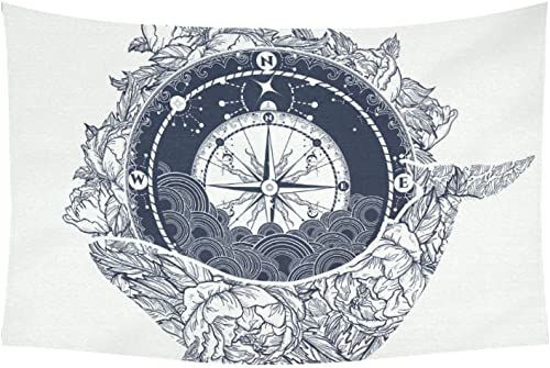INTERESTPRINT AnnHomeArt Wall Tapestry Hanging Compass and Whale Tapestry Picnic Beach Sheet Table Cloth 60 x 40