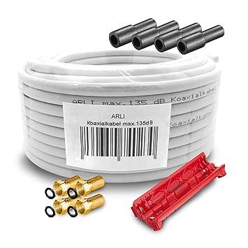 10 M 135 db cable coaxial SAT HD 4 x F conector dorado + goma Tules