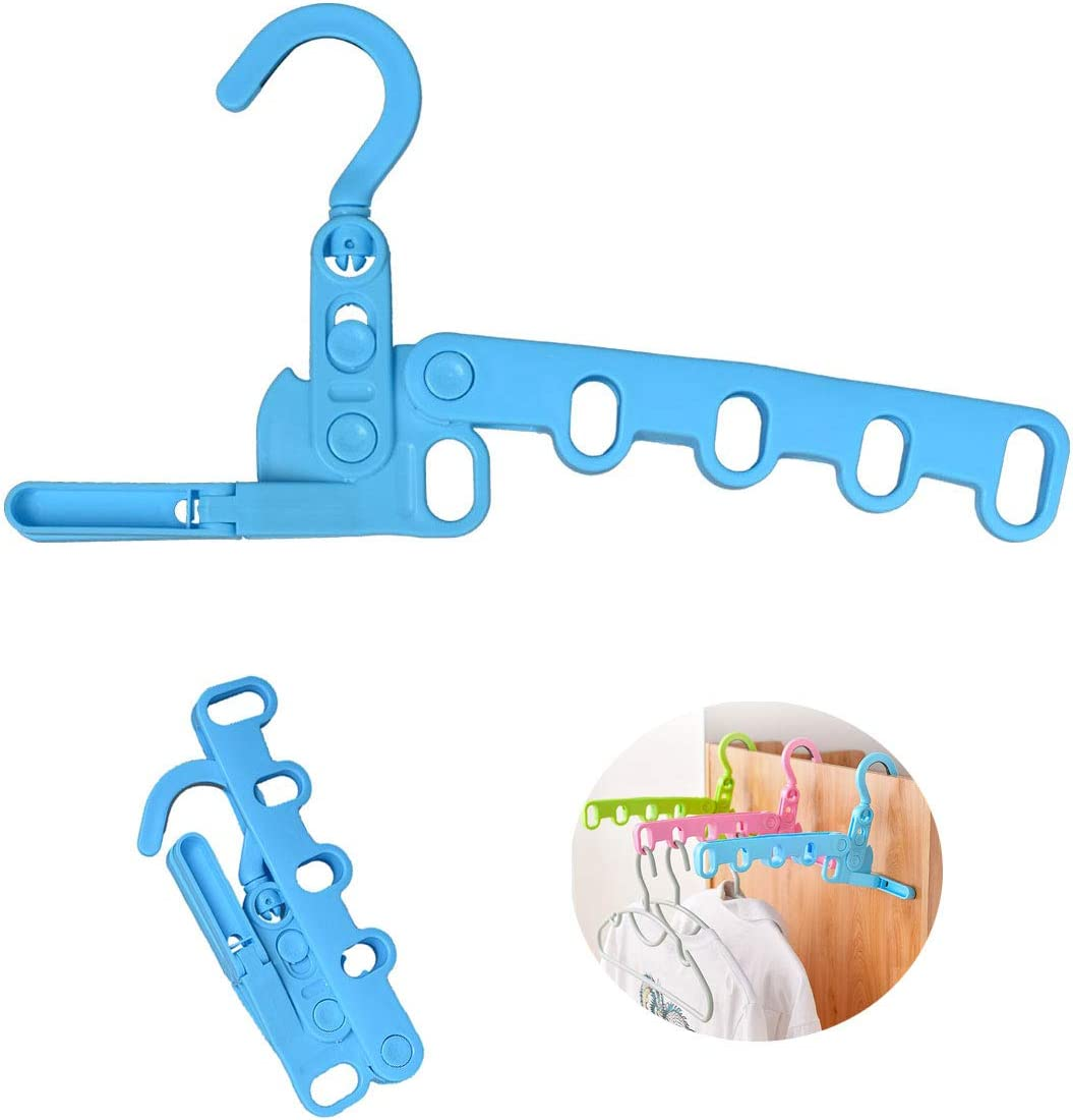 Carpenter Multi-Function Hangers,Foldable Plastic Drying Rack,Suit Hangers,Travel Hangers,Laundry Over The Door Hanger(Blue)