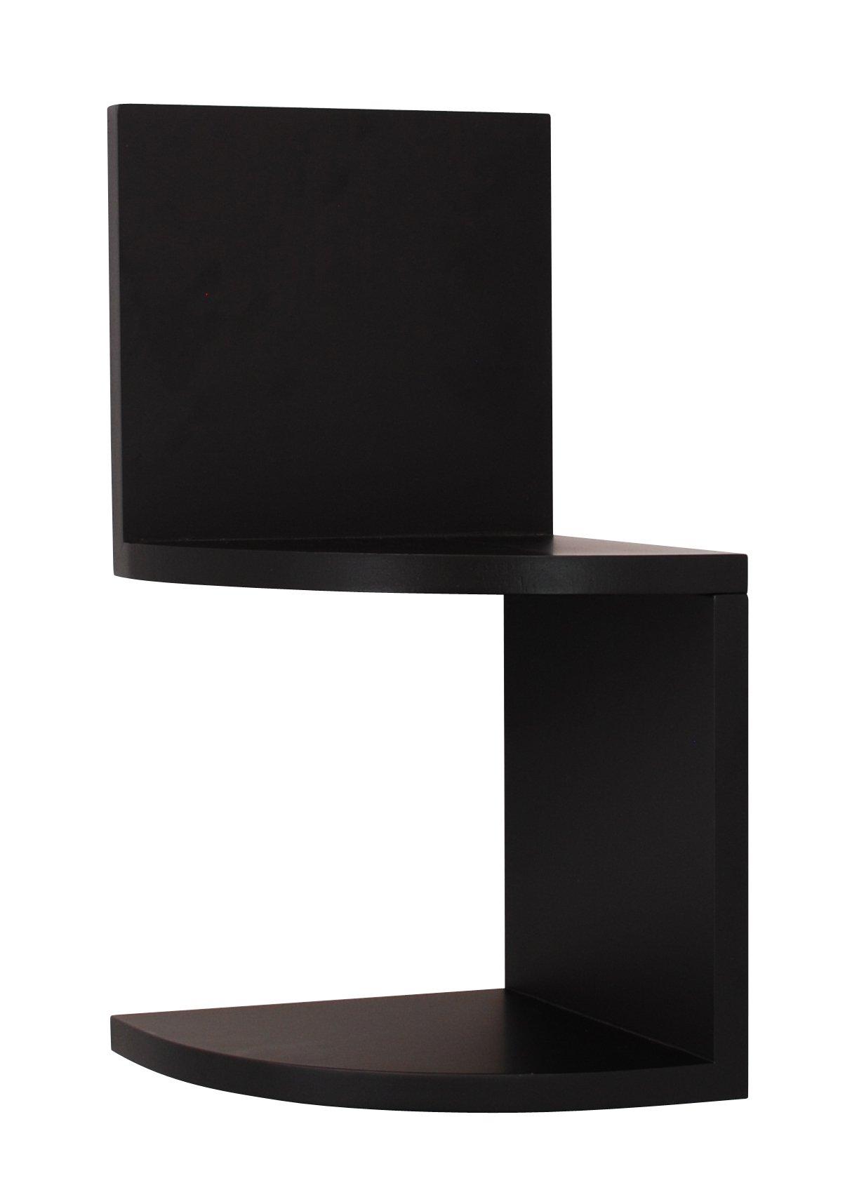 Kiera Grace Priva 2-Tier Corner Shelf, 7.75-Inch by 7.75-Inch Per Tier, Black