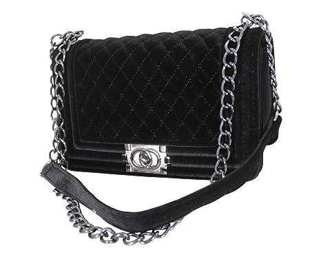 Damen Designer Handtasche mit modischem Steppmuster in 3 Farben by Sassyclassy | Schultertasche für Frauen | Velvet Bag in Samt Optik mit
