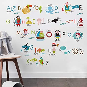 Superior Kids Room Decor Pirate Alphabet Wall Decals For Kids Baby Room Removable  Peel And Stick Educational
