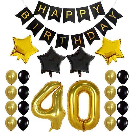 Crazy-M Fiesta de cumpleaños número 40 Set de Globos de cumpleaños número 40 Deco para Hombres Mujer