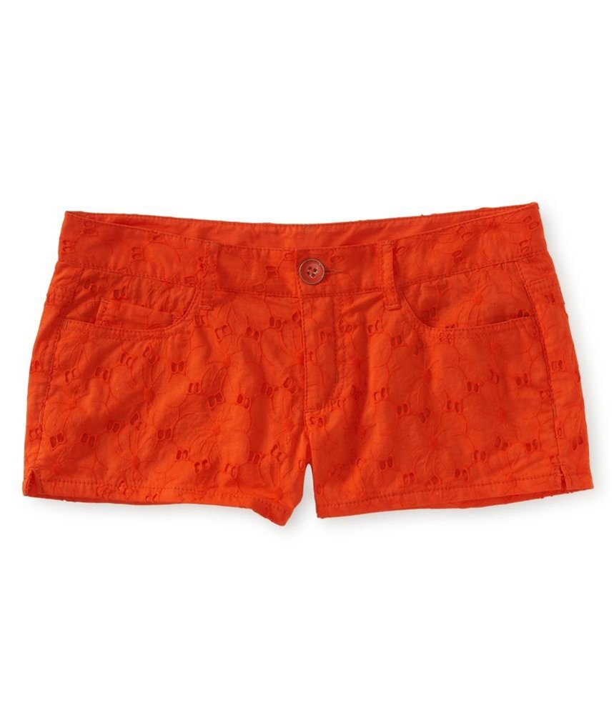 Aeropostale Womens Lace Shorty Casual Chino Shorts Orange 3/4 - Juniors