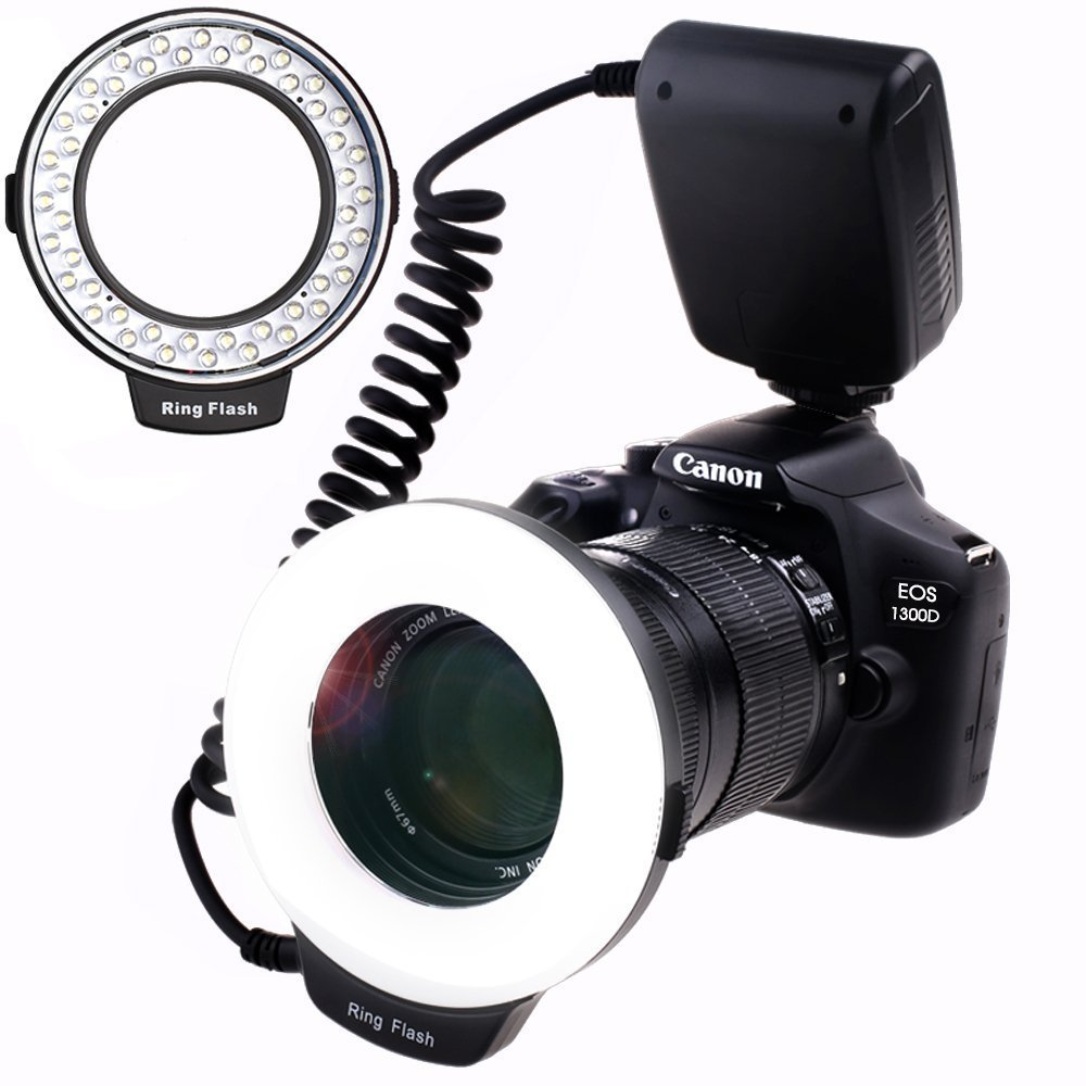 SAMTIAN 48 Macro LED Ring Flash Light with LCD Display Adapter Rings and Flash Diffusers for Canon 750D 760D T6i 550D 600D 650D 700D Nikon D500 D5500 D750 D7100 D7200 D800 D800E D810 Sony A6300 A6000 by SAMTIAN