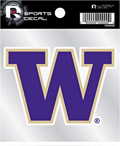 Washington Huskies Premium 4x4 Decal with Clear Backing Flat Vinyl Auto Home Sticker University of