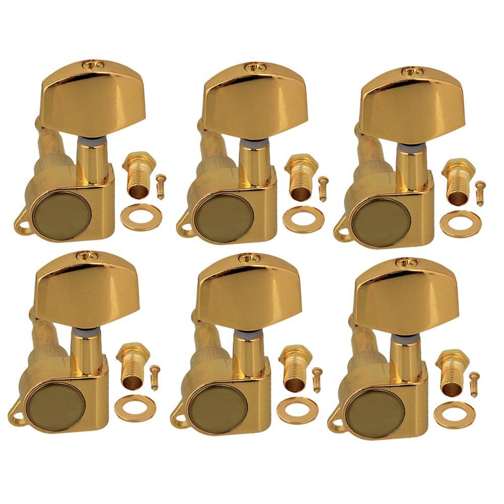 Yibuy pieno chiuso chitarra piroli con testa grande pulsante d' oro in lega di zinco set di 6 Right Golden etfshop YB4006
