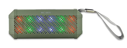 Bocina Portable Inalámbrica con Bluetooth, FM, Show de Luces LED (VERDE)