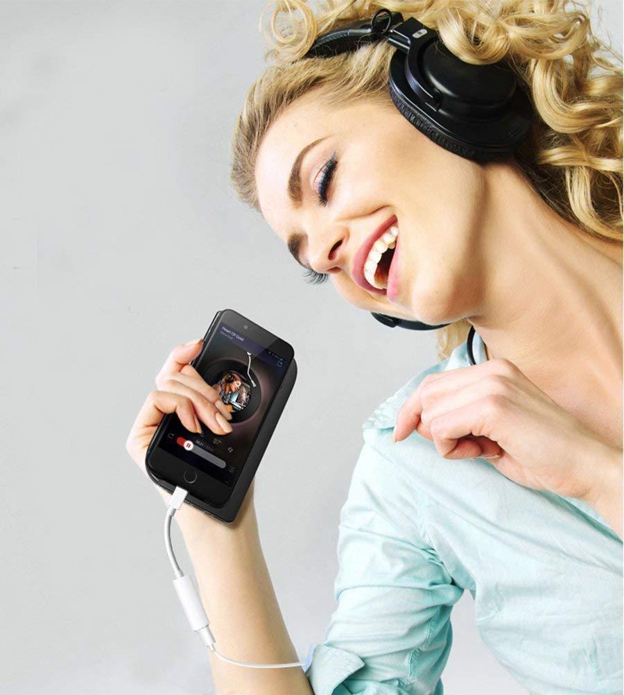 8//8 Plus//X//XR//XS//XS MAX Dongle Aux Audio Est/éreo Adaptador de Conector Splitter Cables Conector iOS 11 o Posterior Adaptador Auriculares Audio Adaptador Jack 3.5 para iPhone 7 7Plus
