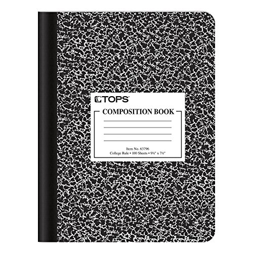 """Oxford Composition Book, 9-3/4"""" x 7-1/2"""", College Rule, Black Marble Covers, 100 Sheets, 1 Each (63796)"""