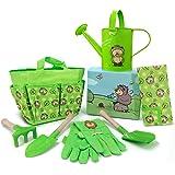 Jardineer Outdoor Kids Gardening Set, Portable Garden Kits for Children, 7 PCS Cute Gardening Tools for Kids