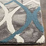 Safavieh Dip Dye Collection DDY534J Handmade Modern Geometric Watercolor Grey and Ivory Blue Wool Runner (2'3'' x 10')