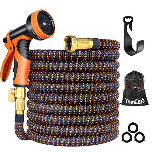 TomCare Garden Hose 50ft Expandable Garden Hose Water Hose Flexible Garden Hose with 9 Function Spray Nozzle 3/4″ Solid Brass Fittings Extra Strength Fabric Expanding Hose for Shower Watering Washing