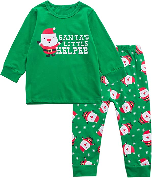 1ac4f5d1e842 Amazon.com  Little Boys  Christmas Santa s Little Helper Pajamas ...