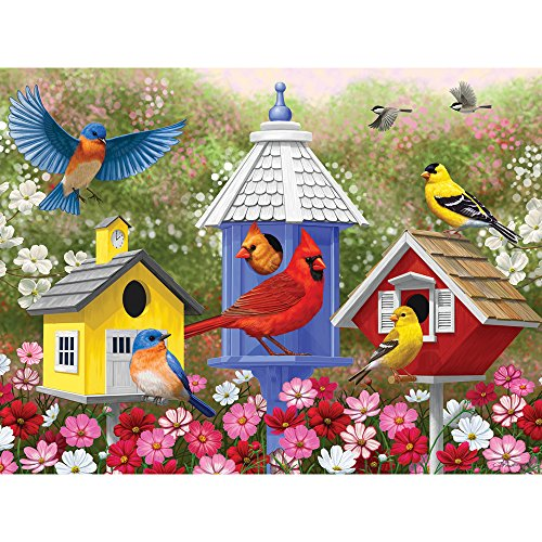 Bits and Pieces - 300 Large Piece Jigsaw Puzzle for Adults - Primary Colors - 300 pc Birds and Flowers Jigsaw by Artist Crista Forest