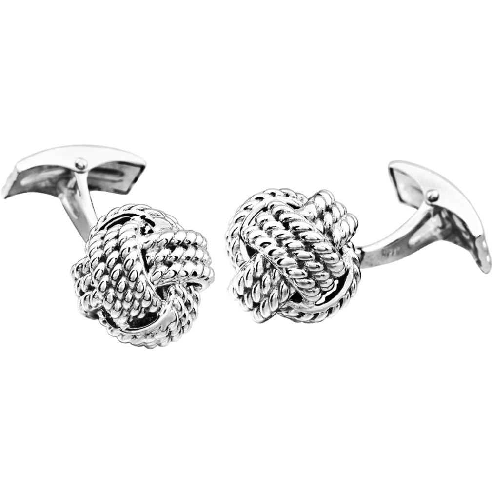 Rope Trim Love Knot Rhodium-Plated 14k White Gold Cuff Links, 15MM