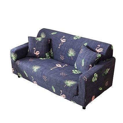 Funda para sofá elástica, antideslizante, estampado de plumas y flores moderno y simple, de 1/2/3/4 plazas, protector para mascotas, Flamingo, ...