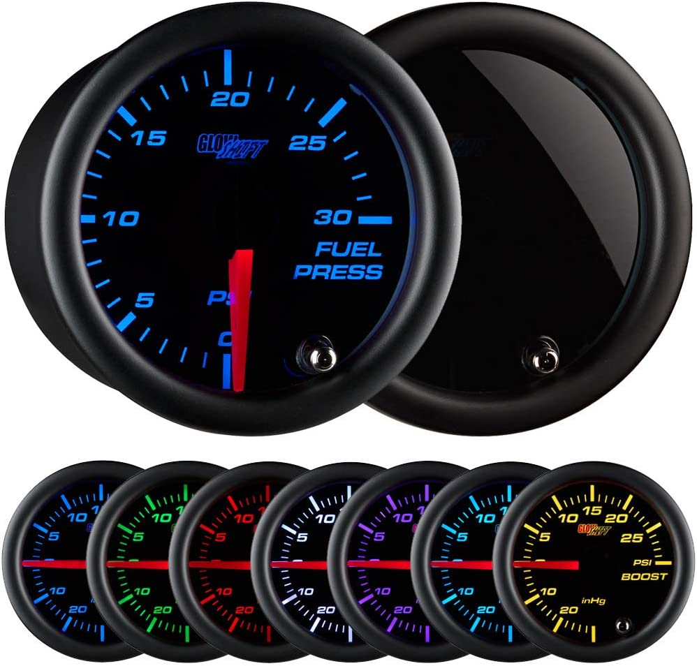 """GlowShift Tinted 7 Color 30 PSI Fuel Pressure Gauge Kit - Includes Electronic Sensor - Black Dial - Smoked Lens - for Diesel Trucks - 2-1/16"""" 52mm"""