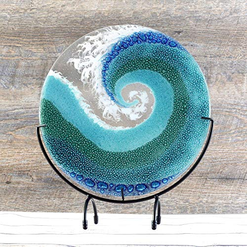 (Fused Glass Crashing Ocean Wave Art Panel with Stand)