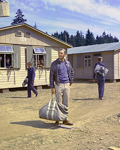 The Great Escape Steve McQueen 16x20 Canvas Giclee holding bag in camp - Mcqueen Steve Bag
