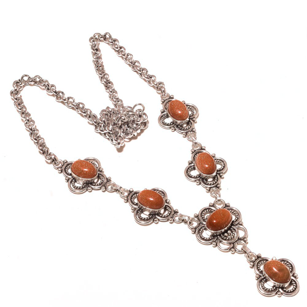Golden Sunstone Sterling Silver Overlay Necklace 17-18 Handmade Jewelry Gift Jewelry