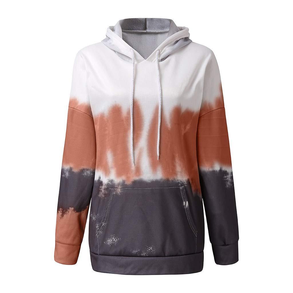 Kininana Women Autumn Popular Sweet Tie-Dyeing Gradient Color Hooded Sweatshirt Casual Long Sleeve Pocket Pullover Tops