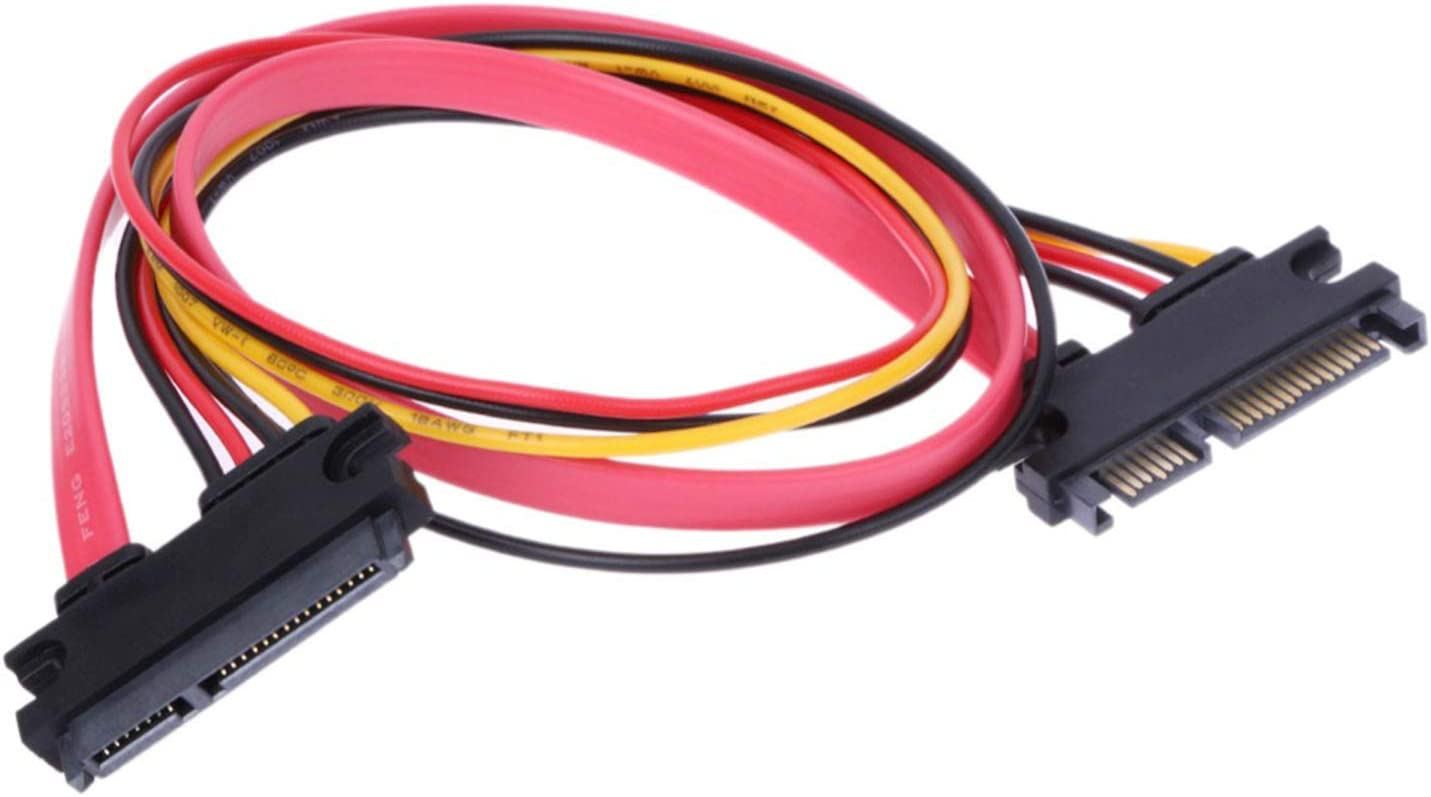 7+15 Male Plug to 22 Pin Female Jack Connector SATA Serial ATA Data Power Combo Extension Cables Wire Cords RLECS 2-Pack 50cm SATA Power Cable 22Pin