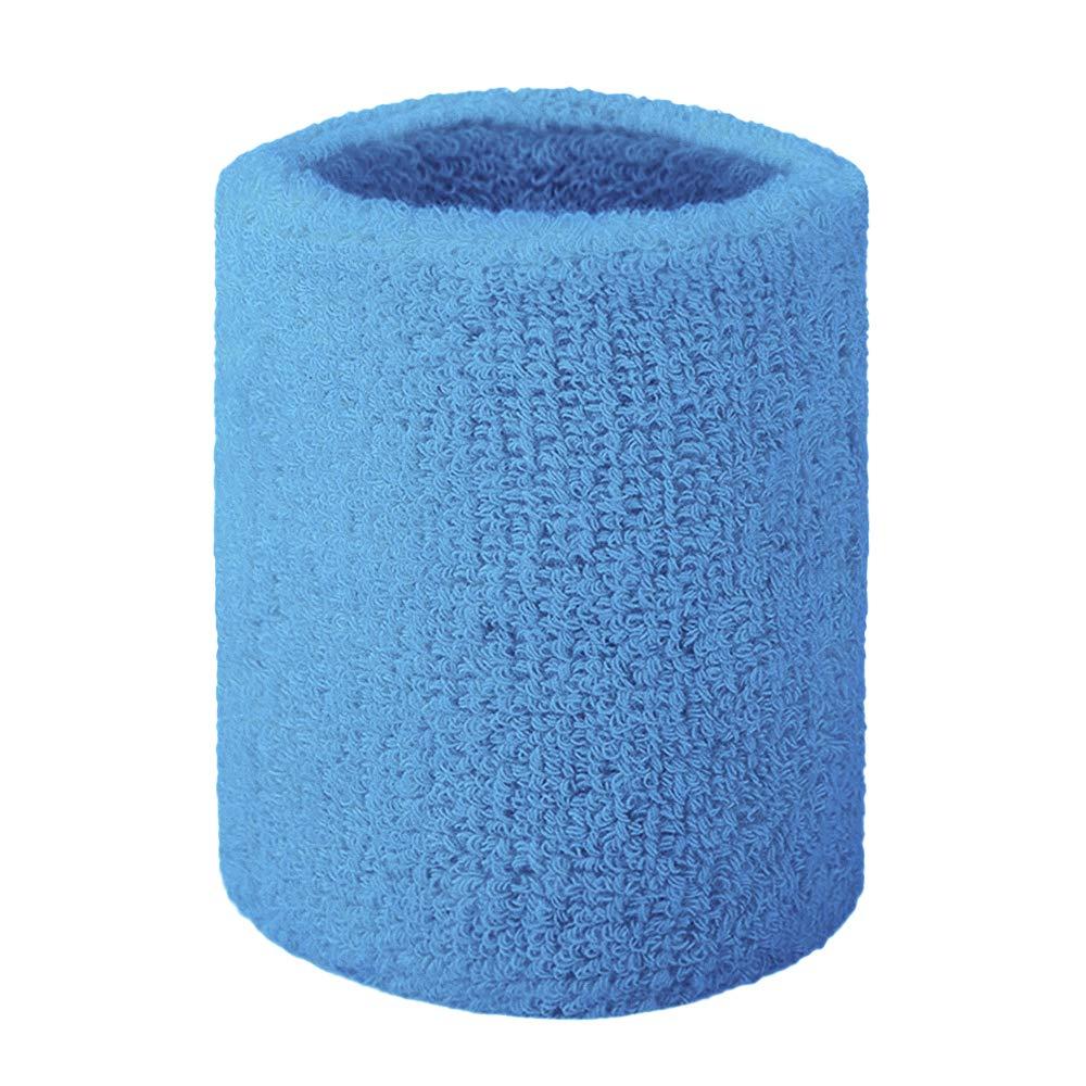 GOGO Terry Cloth Wristband Wrist Sweatband, Blue