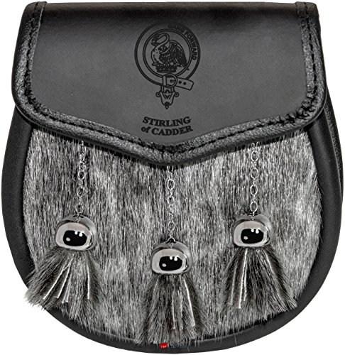 Stirling of Cadder Sporran Fur Plain Leather Flap Scottish Clan Crest