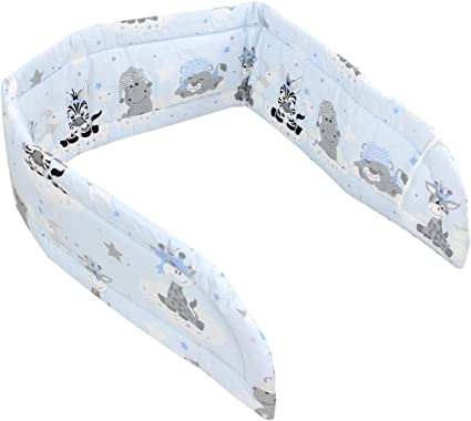TupTam Protector para Cama de Beb/é Largo Acolchado 420x30 cm Beb/ê Animales Gris//Azul Cuna 140x70 cm