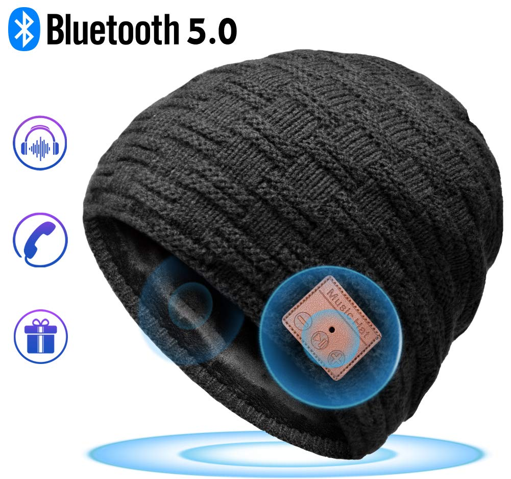 Bluetooth Hat, Eastpin Bluetooth Beanie, Bluetooth 5.0 HD Stereo Beanie Headphone, Winter Hat, Electronic Gifts for Men, Christmas Birthday Music Gifts for Men & Women