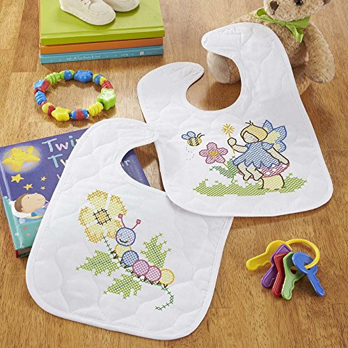Baby by Herrschners Pre-Quilted Fairy Garden Baby Bibs Stamped Cross-Stitch Kit (Stamped Cross Stitch Quilted Bibs)
