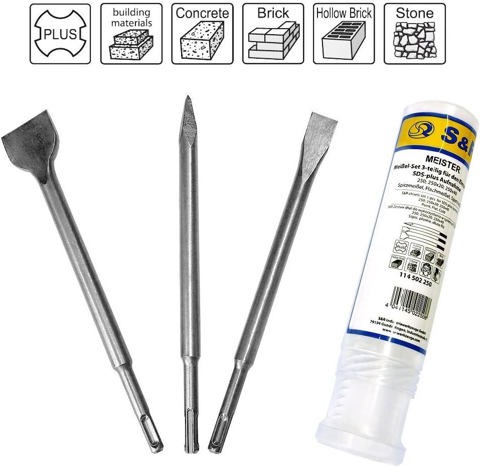 S&R Cincel SDS Plus/Juego de 3 Cinceles: cincel plano 14x250x20, cincel a pala 14x250x40, cincel 14x250mm, Linea Meister