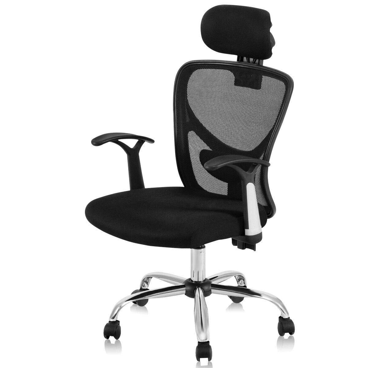 Dayanaprincess Ergonomic Mesh High Back Office Desk Chair with Headrest Solid and Durable Construction Comfortable Seat with Armrest Living Room Bedroom Useful Furniture Contemporary Design (Black) by Dayanaprincess
