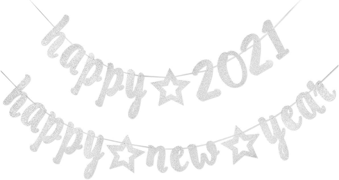 Happy New Year Decorations 2021, Happy 2021 Happy New Year Silver Glittery Banner, New Years Eve Party Supplies 2021, New Years Holiday Fireplace Mantle Home Party Decor