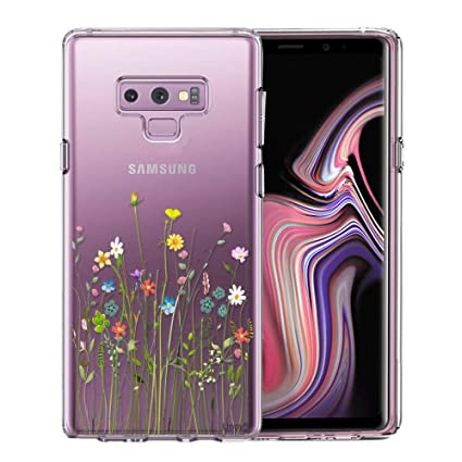 Unov Galaxy Note 9 Case, Clear with Design Soft TPU Shock Absorption Slim Embossed Floral Pattern Protective Back Cover for Samsung Galaxy Note ...