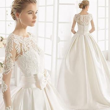 AN Lujosa perspectiva de encaje de manga larga princesa novia vestido de novia de cola grande