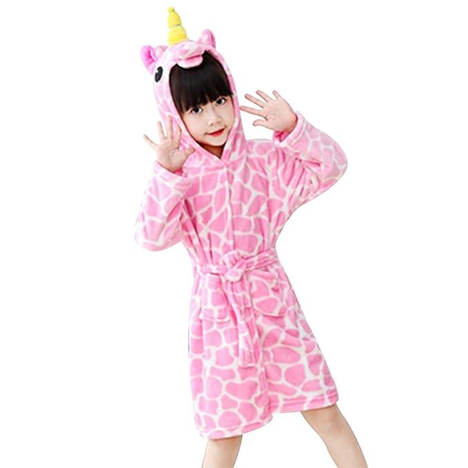 chicolife ni/ños Chica Chico Albornoz camis/ón Unicornio Animales pa/ño Grueso y Suave Ropa de Dormir Unisex Loungewear Pijama Dormir