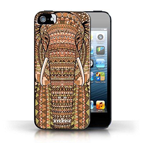 Etui / Coque pour Apple iPhone 5/5S / éléphant-Orange conception / Collection de Motif Animaux Aztec