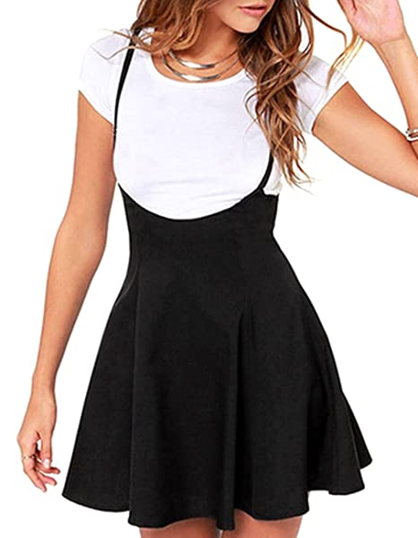 38ec1b2285bb Amazon.com: Women's Suspender Skirt Casual High Waist Short Dress Shoulder  Straps Flared Skater Skirt (S, Black): Kimiee Store