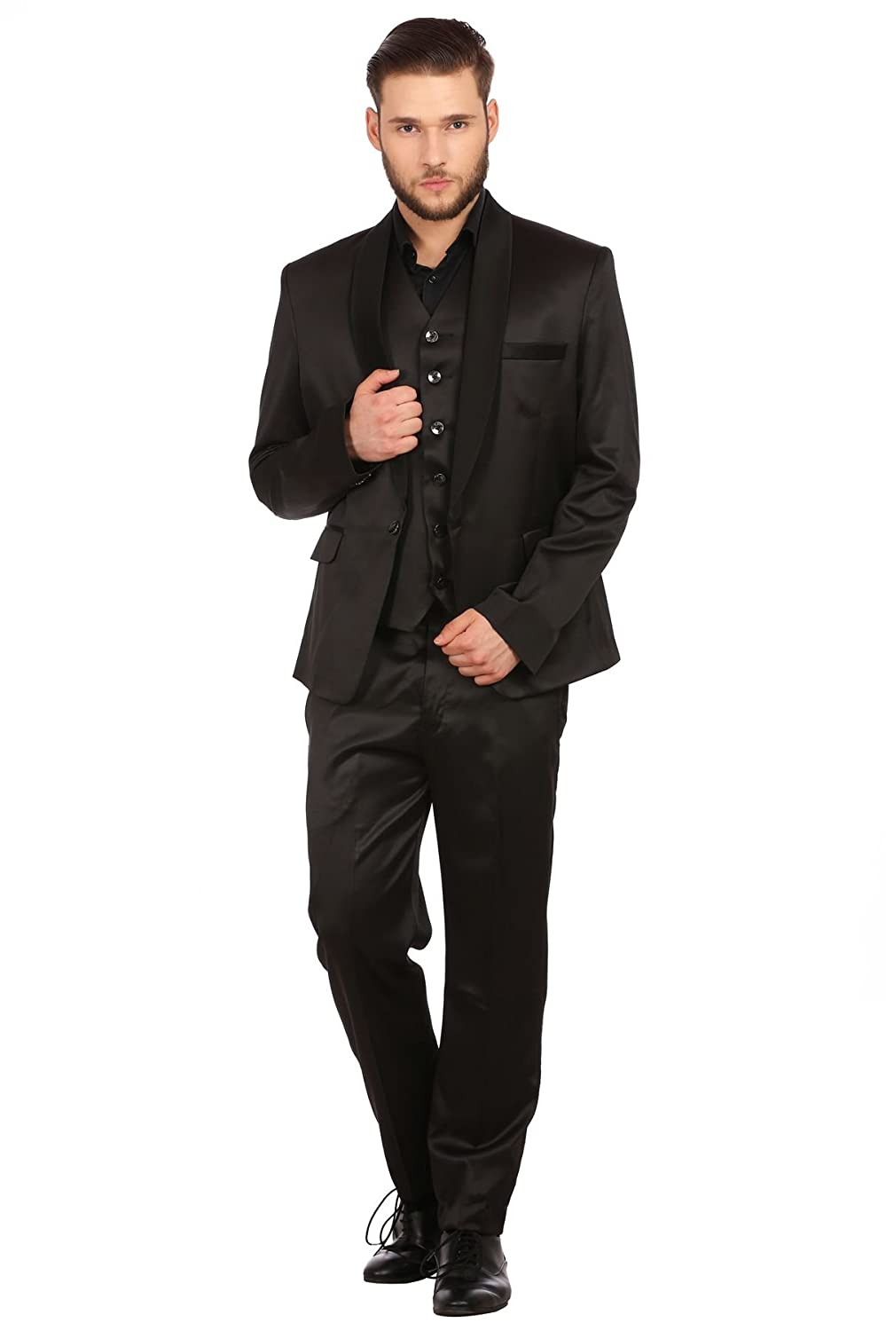 Wintage Men's Poly Blend Notch Lapel Tuxedo 3Pc Suit: Black, 4X-Large xxblacktux3pcs50