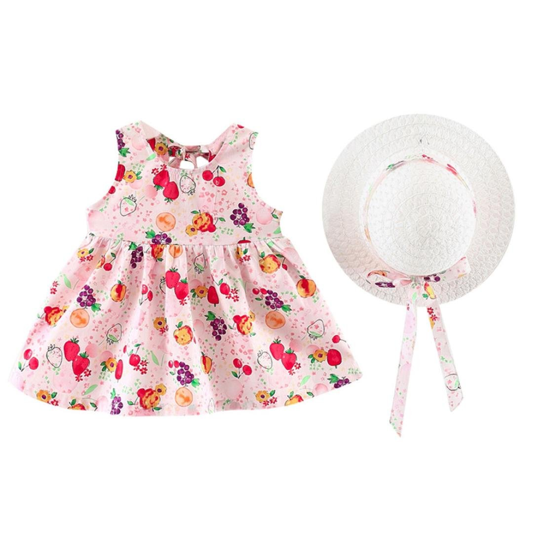kaiCran 2018 Summer Infant Toddler Baby Girls Fruits Floral Party Cap Beach Sweet Dress Sundress Clothes