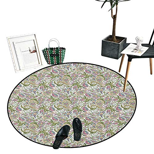 Paisley Home Decor Circle Area Rug Traditional Persian Pickles Pattern Vintage Style Arabesque Ornament Indoor/Outdoor Round Area Rug (24