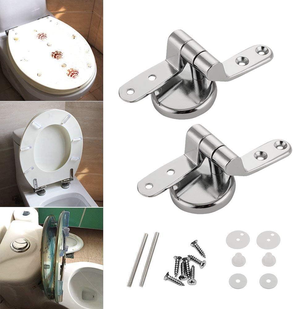 Lot de 2 charni/ères de rechange pour lunette WC avec fixations en alliage de zinc