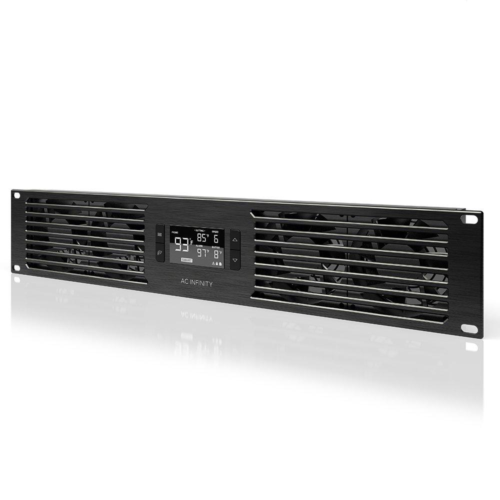 "AC Infinity CLOUDPLATE T7, Rack Mount Fan Panel 2U, Exhaust Airflow, for cooling AV, Home Theater, Network 19"" Racks"