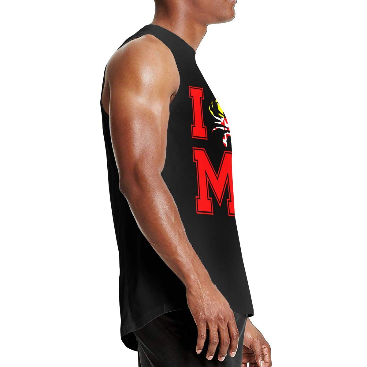 Heart Mens I Athletic 100/% Cotton Blouse Top for Mens Blue Crab MD Maryland State Sleeveless Shirt